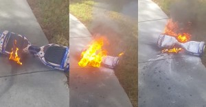 burning hoverboard explodes