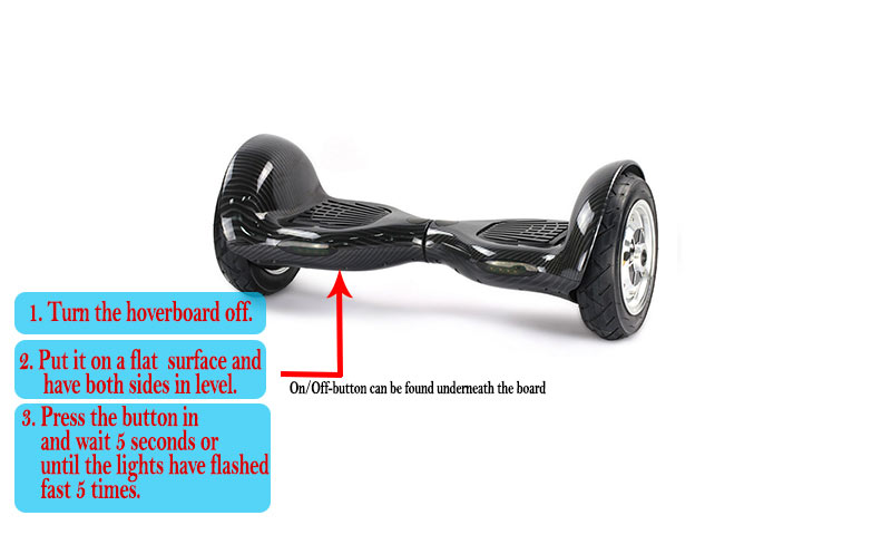 power-button on a 10-inch hoverboard