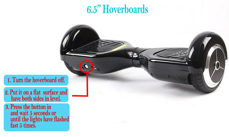calibration button on a 6.5 inch hoverboard